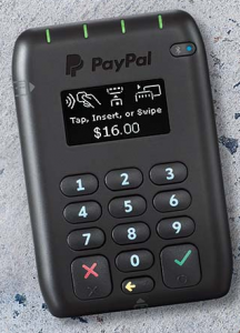 Paypal Here - accept credit card payments quickly on the go via mobile with no monthly fees and low merchant fees of 1.95%