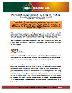 Business Partnership agreement template from Australian small business centre and courses - small