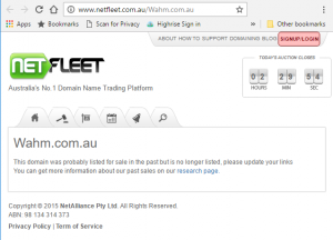 Netfleet and domain name sales WAHM domain name no longer sold here
