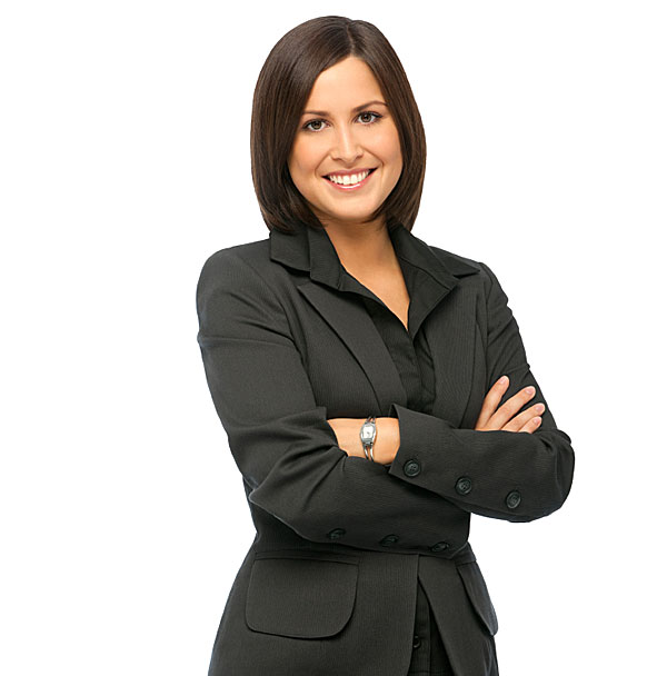 smiling business woman in business suit