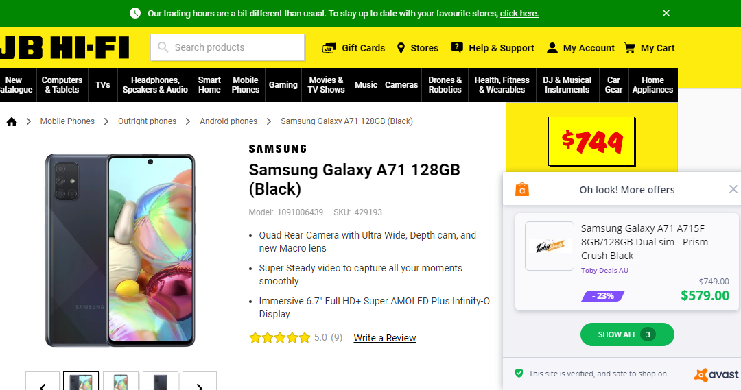 Samsung Galaxy Android phone cheaper than JBHIFI according to PayPal's Honey