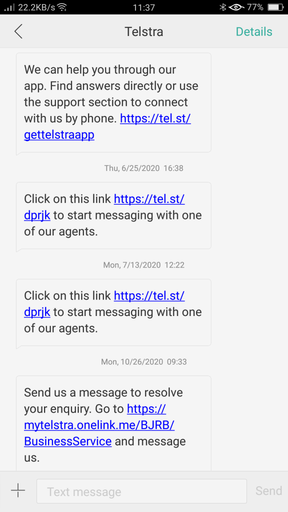 Text message from Telstra telling customers to use their website chat for Customer Service, why not just use SMS