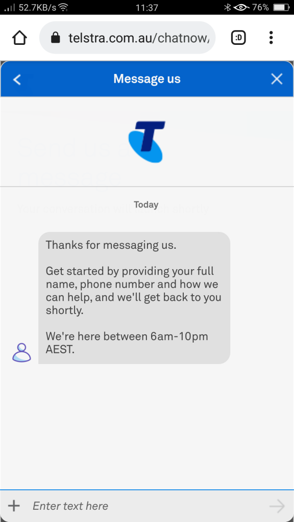The Telstra Customer Service chat which has not authentication - Why use Telstra for Digital Marketing